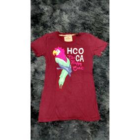 Camiseta Hollister M Feminina Gola Careca Vermelha Lote 19 548e5847e6154