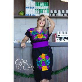 Vestido / Bata / Bordado Flores Chiapas