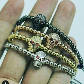 Skull Bracelet Oro Laminado 18k Zirconias Blancas