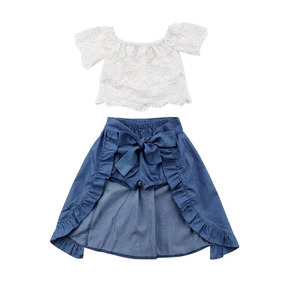 Conjunto Feminino Infantil 3pçs Cropped, Saia, Short 2 Em 1