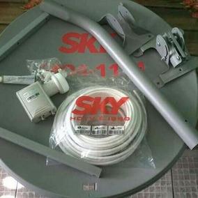 Antena Ku 60 + Lnb Duplo + 10 Mts Cabo 02 Kit Pronta Entrega