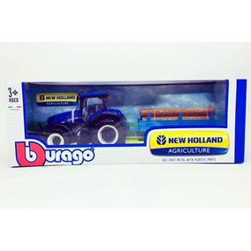 Miniatura Trator New Holland T7.315 C/ Carreta 1:32 Burago