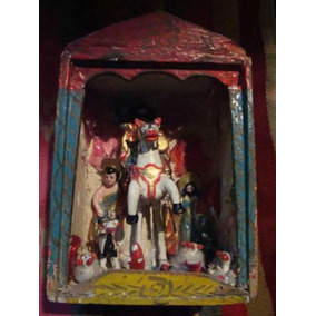 Capilla Retablo De Madera. Santiago Matamoros. Arte Popular