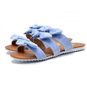 Sandália Rasteira Tiras Com Laços Azul Serenity