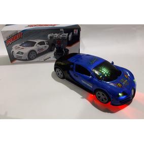 Carrinho Vira Robô Azul Com Luz Som Transformers !