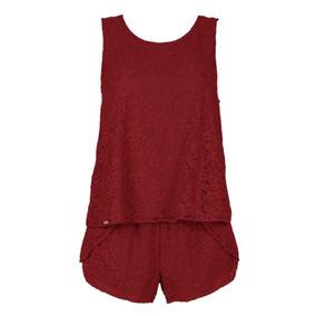 Pijama Fiorentina Grande Short Encaje Color Vino Rojo