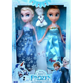 Caja 2 Muñecas Frozen Elsa Y Anna + Olaf Juguete Niña Barbie