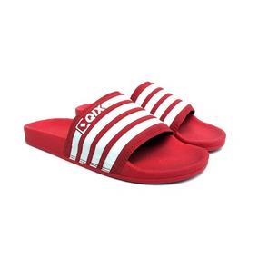 Chinelo Slide Listrado Tam 34 Vermelho 100% Original Qix 39c637ae03016