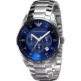 Relógio Qqd4300 Empório Armani Ar5860 Prata Azul Original