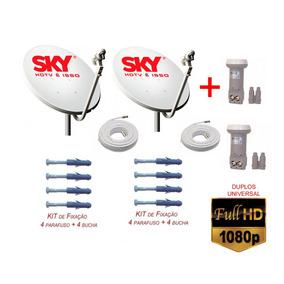 40mts De Cabo + 2 Antena 60cm Banda Ku +2 Lnb Duplo+ Fixação