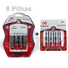 Kit Carregador Pilhas Mox 8 Pilhas Recarregáveis Aa 2600mah