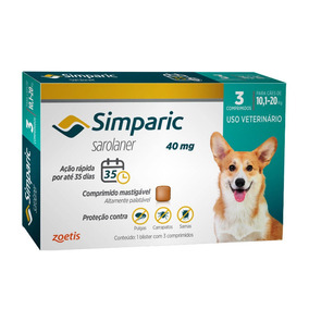 Antipulgas Simparic 40mg Cães 10,1-20kg 3 Comp. 03/2020