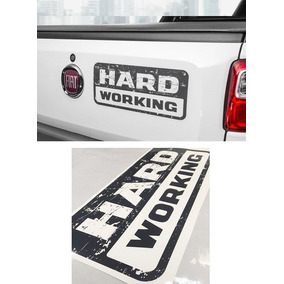 Adesivo Decorativo Fiat Strada Hard Working Mod 2018 Grafite