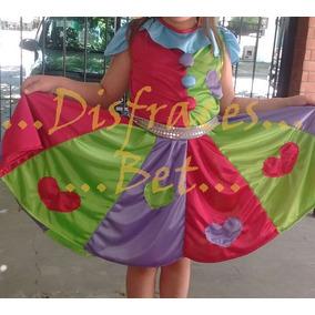 Disfraz Vestido Traje Payaso Colores Vivos Para Niñas