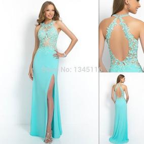 9054a1724 Vestidos largos de fiesta color verde agua - Elegante vestido de ...