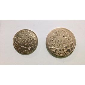 Moeda Antiga 500 E 1000 Réis 1828/27 - Brasil
