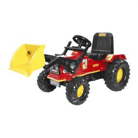 Mini Veículo Trator Com Pá Biemme Farmer A Pedal Vermelho