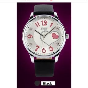 Relógio Feminino Skmei Prata Preto Moda Coração Mulher