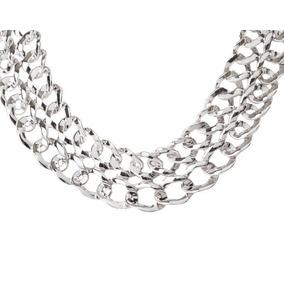 ad7ffaddaec5 Collar Doble Cadena Pegada Bañado En Oro Blanco 24k