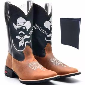 Bota Texana Masculino Em Couro Tião Carreiro + Carteira