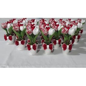 35 Vasinho Com 3 Tulipa Em Tecido - Lembrancinha