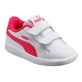 Tenis Puma Smash V2 L V 6500h Piel Blanco Fiusha Udt Niñas 7768ac5055221