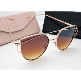 Óculos Espelhado Feminino Dourado Gato Gatinho Metal Redondo 9567e602ba