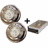 Luces Piscina Led Potencia 15w 12v Sumergible + Fuente 220v