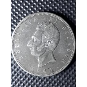 Moneda Antigua-5 Sucres-1944-plata-excelente Estado