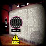 Cortina De 900 Leds Branco Frio 4m X 3m 220v