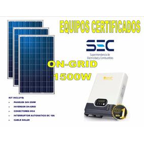 Kit On Grid 1,5kw Equipos Certificados Sec
