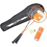 Kit Badminton Com 2 Raquetes E 3 Petecas Vollo