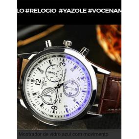 Relógio Luxo Masculino Geneva Pulso Social Pulseira Couro