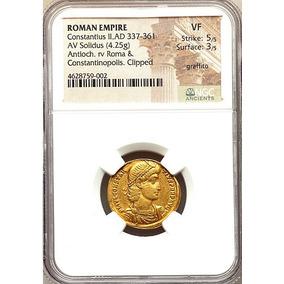 C M - Moeda Romana Solidus Ouro De Constâncio Ii - Ngc