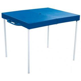 Mesa Prática Dobrável Sem Banqueta Azul - Mor