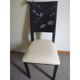 Dos Sillas Marca Ikasa,color Negro,tapiz Crema,diseño Flores