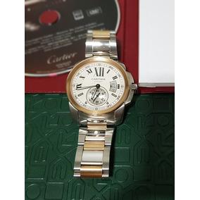 Cartier Calibre Ouro Rosê E Aço 42mm