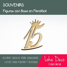 Número 15 Con Corona Y Base En 6cm - Souvenir - Fibrofácil