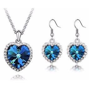 Collar Y Aretes Crystallized Corazon Blue Heart Certificado