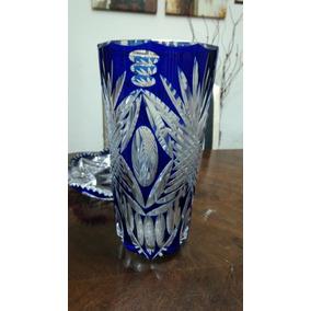Florero Cristal Tallado Azul