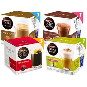 Pack 6 Cajas Nescafé Dolce Gusto Lacteados, Negro Y Choco