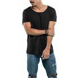 Camiseta Gola Cavada Canoa Preta 100% Algodão Lançamento Top