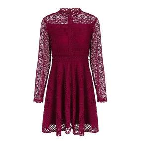 Vestido Tinto De Encaje Y Manga Larga Cherry Pink