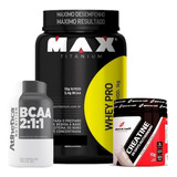 Kit Suplemento Ganho De Massa Whey + Bcaa + Creatina - Max