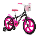 Bicicleta Infantil Aro 16 Houston Tina Com Bolsa - Preta