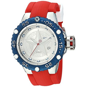 Invicta Mens Marvel Automatic Stainless Steel And Silicone W