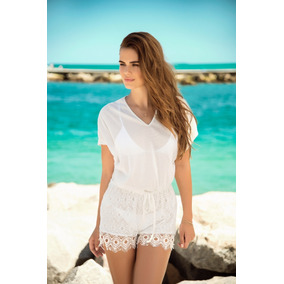 Encantador Romper Cover-up Playa O Casual Ivory - 7880
