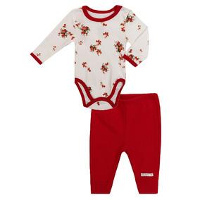 Conjunto De Bebê Feminino Body E Calça Suedine Floral