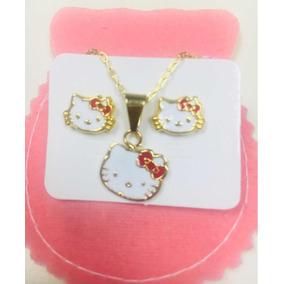Conjunto Hello Kitty Bañado En Oro