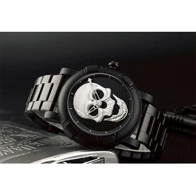 Reloj Calavera Negro Y Plata